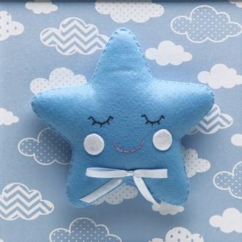 Quadro Decorativo Estrela Com Carinha Azul
