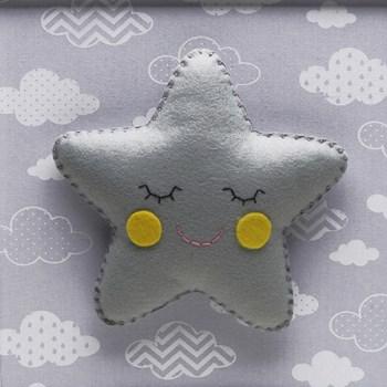 Quadro Decorativo Estrela Com Carinha Cinza