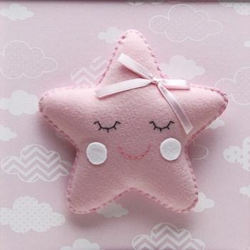 Quadro Decorativo Estrela Com Carinha Rosa