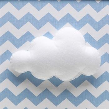 Quadro Decorativo Nuvem Chevron Azul