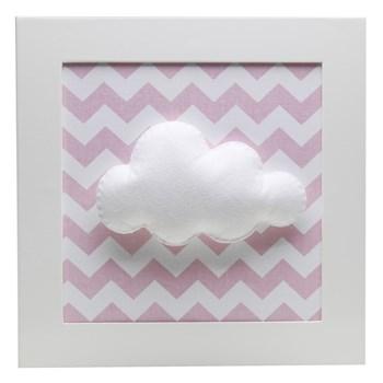 Quadro Decorativo Nuvem Chevron Rosa