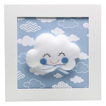 Quadro Decorativo Nuvem Com Carinha Azul