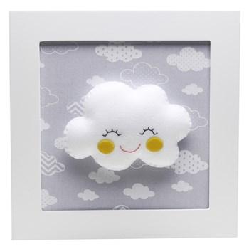 Quadro Decorativo Nuvem Com Carinha Cinza