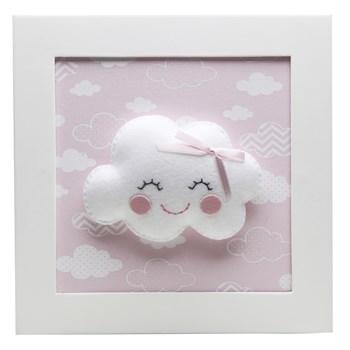 Quadro Decorativo Nuvem Com Carinha Rosa