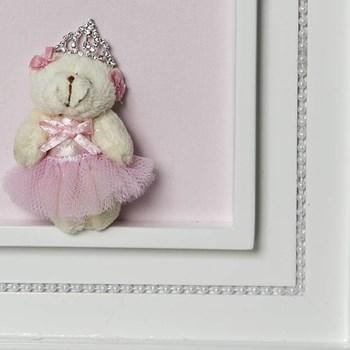 Quadro Princesa Pérolas Ursa Mini Bailarina