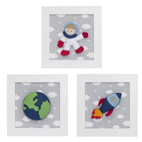 Trio De Quadros Astronauta