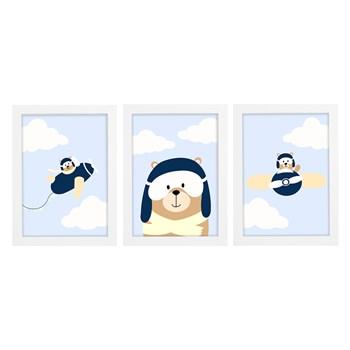 Trio De Quadros Branco Com Vidro Aviador
