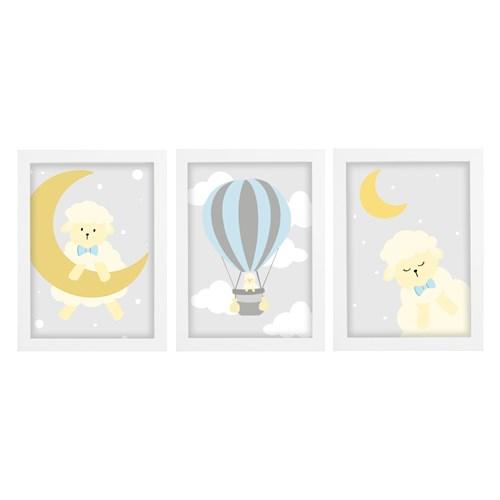 Trio De Quadros Branco Com Vidro Carneiro