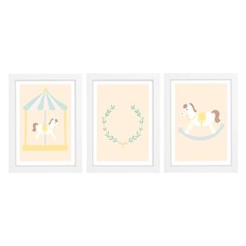 Trio De Quadros Branco Com Vidro Cavalo De Balanço