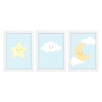 Trio De Quadros Branco Com Vidro Chuva de Amor Azul