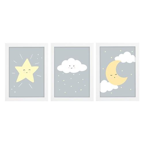 Trio De Quadros Branco Com Vidro Chuva de Amor Cinza