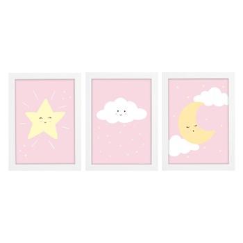 Trio De Quadros Branco Com Vidro Chuva de Amor Rosa