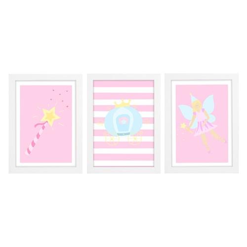 Trio De Quadros Branco Com Vidro Conto De Fadas
