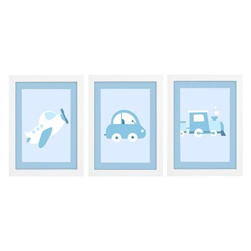 Trio De Quadros Branco Com Vidro Meio de Transportes Azul