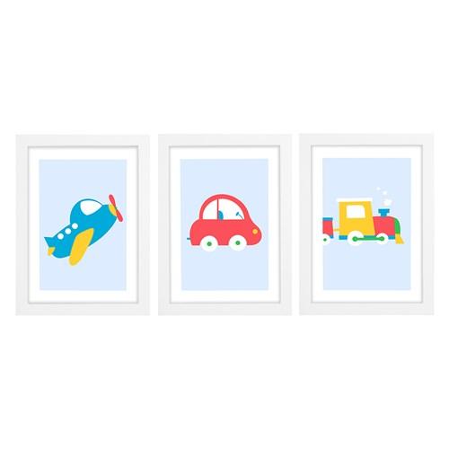 Trio De Quadros Branco Com Vidro Meio De Transportes Colorido