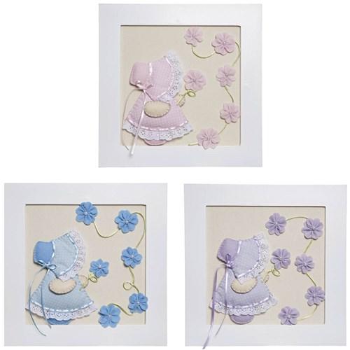 Trio De Quadros Camponesas Com Flores