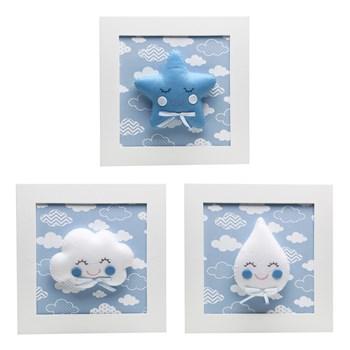Trio De Quadros Chuva de Amor Azul