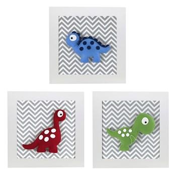 Trio de Quadros Dinossauro