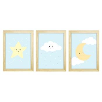 Trio De Quadros Pinus Com Vidro Chuva de Amor Azul