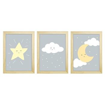 Trio De Quadros Pinus Com Vidro Chuva de Amor Cinza