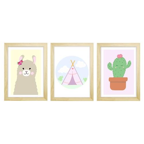 Trio De Quadros Pinus Com Vidro Lhama