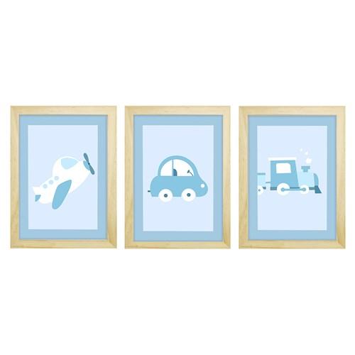 Trio De Quadros Pinus Com Vidro Meio de Transportes Azul