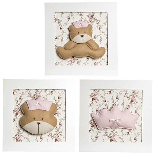 Trio De Quadros Ursa Princesa