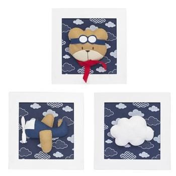 Trio De Quadros Urso Aviador