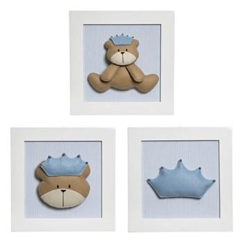 Trio De Quadros Urso Príncipe