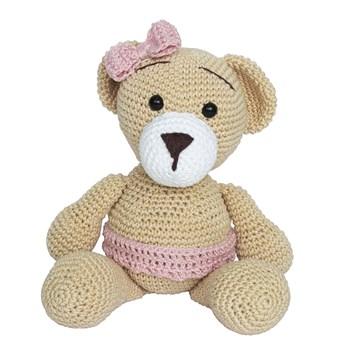 Ursa Duda de Lacinho Rosa Amigurumi Crochê