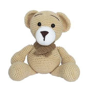Urso Ted de Cachecol Bege Amigurumi Crochê