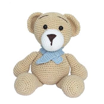 Urso Tom de Cachecol Azul Amigurumi Crochê